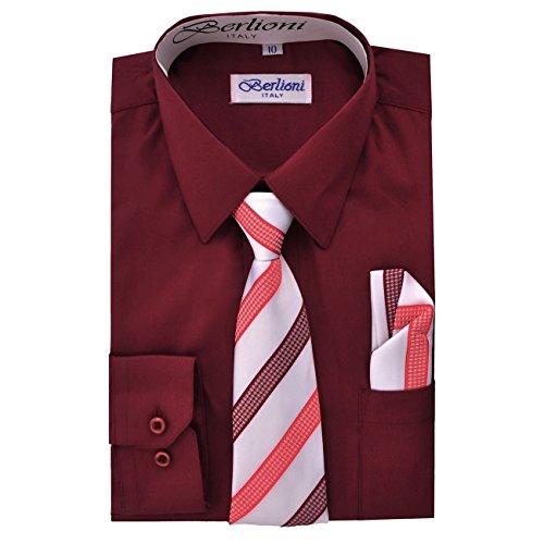 Berlioni Italy Kids Boys Italian Long Sleeve Dress Shirt With Tie /& Hanky Fuchsi