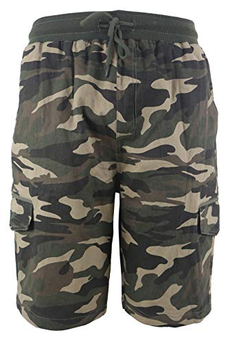 Men's Classic Cargo Shorts with 6-Pockets Outdoor Twill Elastic Waist Shorts Camo Green ()