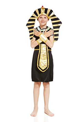 Kids Boys Pharaoh Tut Halloween Costume Egyptian King God Dress up & Role Play (3-6 years)