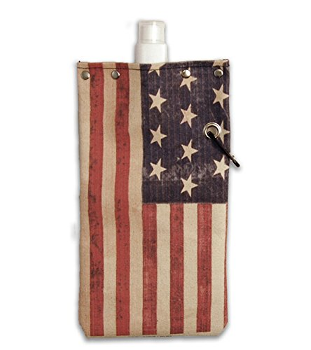 UPC 799418400921, American Flag Water,Wine and Beverage Canvas Reusable Flask Bottle & Tote Carrier Holds 750ml/26oz