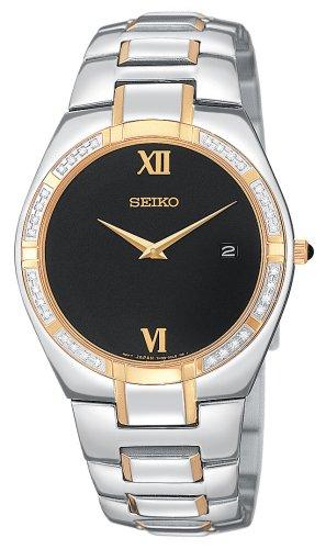 Seiko Men's SKP338 Diamond Dress Two-Tone Watch (Seiko Diamond Wrist Watch)