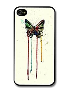 AMAF ? Accessories Butterfly Watercolour Insect Red Blue Green Yellow Original Art case for iPhone 4 4S
