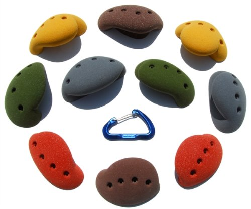 10 Large Simple Screw-on Jugs | Climbing Holds | Mixed Earth Tones by Atomik Climbing Holds