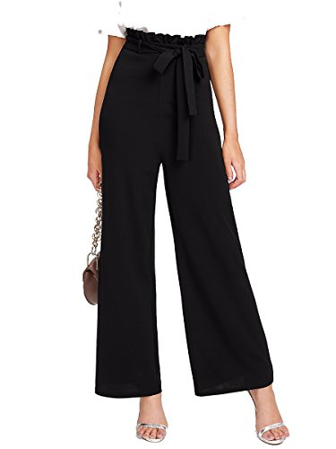Romwe Women's High Waist Wide Leg Palazzo Loose Casual Pants Black L