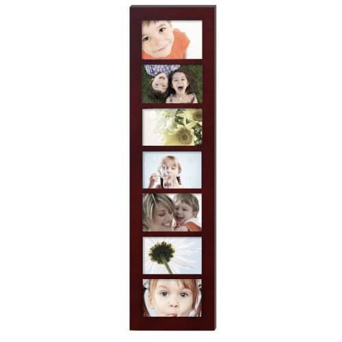 Adeco PF0274 Decorative Walnut Color Wood Wall Hanging Picture Photo Frame, 7 Divided Openings of 4x6 inches each