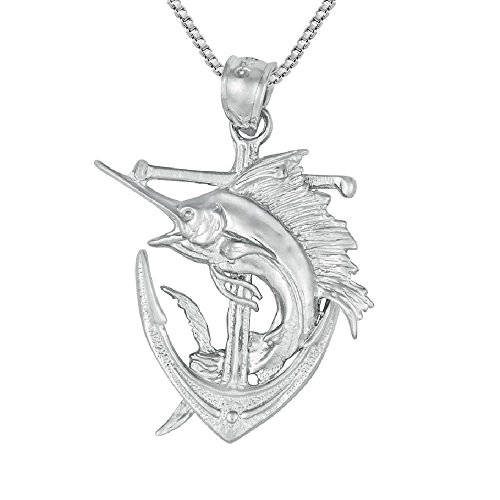Sterling Silver Marlin - SURANO DESIGN JEWELRY Sterling Silver Anchor w/Blue Marlin 3 Dimensional Pendant, Made in USA, 18