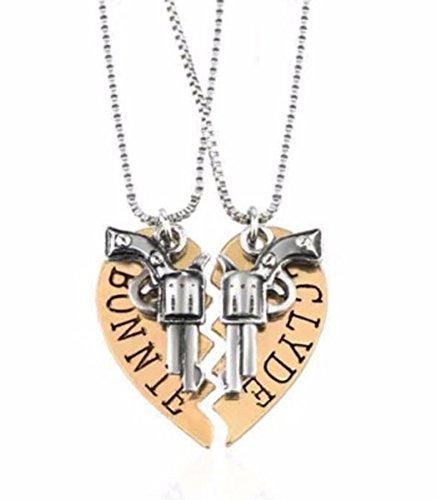 BONNIE And CLYDE Goldtone Split Heart Logo Pendant Necklace Set