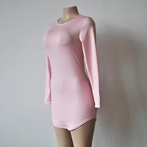 Tongshi De las mujeres Bodycon del partido de las señoras de vestir de manga larga noche mini vestido Rosado
