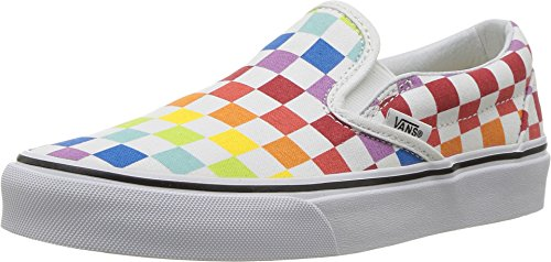 Vans Unisex Authentic Skate Shoe Sneaker (13.5 Women/12 Men M US, (Checkerboard) Rainbow/True White 7267)