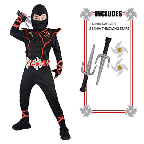 FUNNISM Ninja Deluxe Costumes for Kids, Ninja Warrior 8 Abdominal Muscles Costumes with Ninja Weapon Accessories, Halloween Costumes for Boys Girls Kids Toddlers - Large Black