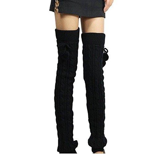 ieasysexy Women Ladies Winter Fashion Leg Warmers Stocking Knit Thick Long Socks Lady Knit Crochet Legging Best Xmas Gift (black) (black)