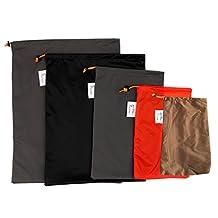 MonkeyJack 5 Pieces/ Set Drawstring Camping Travel Stuff Sack Reusable Durable Luggage Clothes Shoes Tools Storage Bag