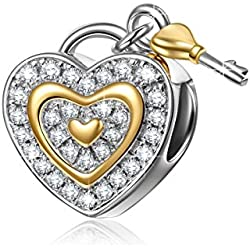 "NinaQueen ""Love You Forever"" 925 Sterling Silver Cubic Zirconia Lock Key Love Dangle Heart Shape Design Charms Valentine's Day Gifts Idea"