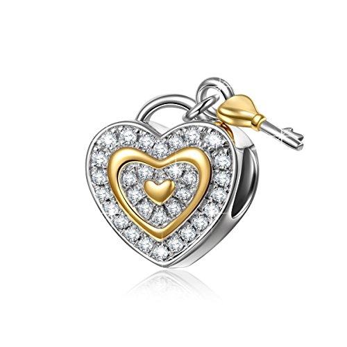 "NinaQueen ""Love You Forever"" 925 Sterling Silver Cubic Zirconia Lock Key Love Dangle Heart Shape Design Charms"