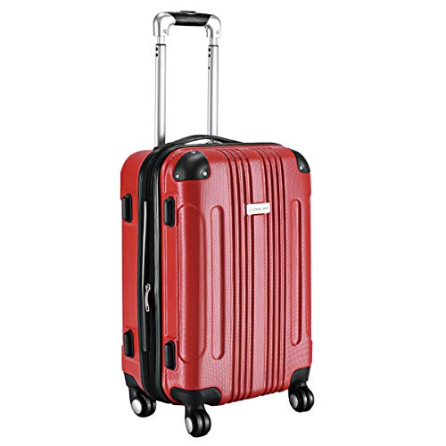 (Goplus Carry On Luggage 20-inch ABS Expandable Hardside Travel Bag Trolley Suitcase GLOBALWAY (Red))