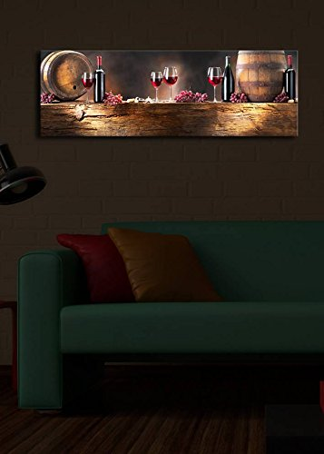 LaModaHome Decorative Canvas Wall Art (11.5 x 35) Wooden Thick Frame Painting/Led Light Inside Wine Drink Alcohol Barrel Grapes Wood Light Glass