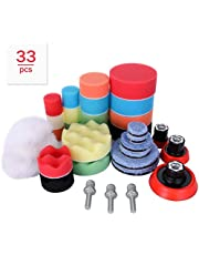 Aimocar Polijstspons kit met polijstpad voor auto, 33 stuks handpolijstpads spons wol polijstset klittenband 30 mm 50 mm 80 mm polijstpad polijstschijf M14 booradapter voor polijstmachine slijpmachine