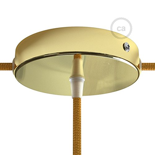 Creative Cables Brass Metal 4.7'' Canopy kit with one Central Hole and 2 Side Holes, Accessories Included by Creative Cables