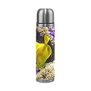 YZGO Vacuum Water Coffee Bottle Mug PU Leather Sea Yellow Fish Coral Leak-proof Double Walled Stainless Steel Cup Travel - Unique Custom Birthday Gift