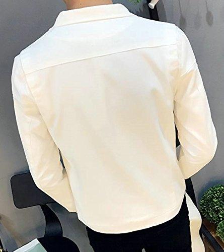 Colore Casuale Fit Denim Di Cappotto Bianco Solido Fulok Rivestimento Lightweigth Del Del Mens wqEvxpFO