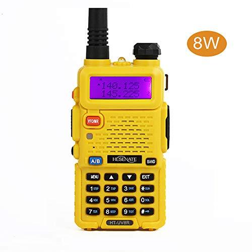 HESENATE HT-UV8R Tri-Power 8/4/1 Watt Two Way Radio 136-174/400-520MHz Dual Band Amateur Transceiver (Yellow)