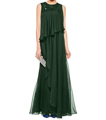 Partykleider linie Brautmutterkleider Charmant Dunkel Elegant Rock Gruen Abendkleider A Festlichkleider Damen Promkleider Chiffon z6zXp