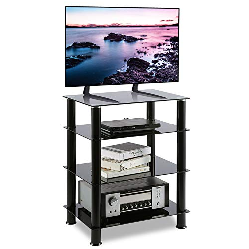 (5Rcom 4 Tier TV Rack Black Glass Component Media Stand Audio Video Tower Shelves, Storage for Xbox,Routers,Cable Boxes, Games Consoles, Hi-fis)
