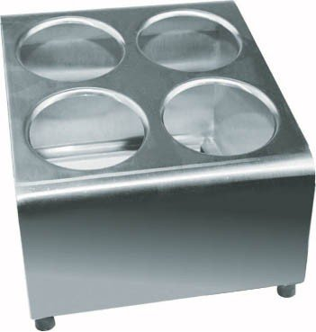 (Winco FC-4H B001PZF270 4 Hole Flatware Cylinder Holder, 2 Tiers, Medium, Stainless Steel)
