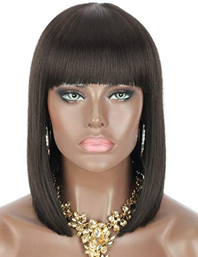 "Kalyss 12"" Short Bob Wigs Darkest Brown Color Straight Bob Stylish Wig with Hair Bangs for Black Women Heat Resistant Yaki Synthetic Hair Women¡¯s Wigs"