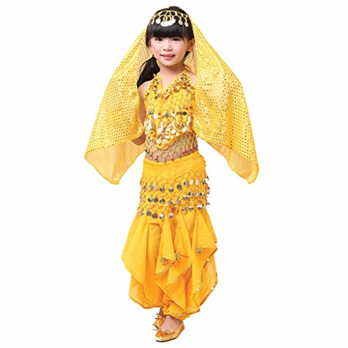 Pilot-trade Kid Children Belly Dance Costume, Harem Pants & Halter Top Sets (Yellow,S)]()