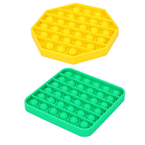 Pure Compression 2 Pack Silicone Push Pop Bubble Fidget Sensory Block Toy - Stress Reliever Extrusion Bubble Popping Game Educational STEM Playing Board - Anxiety Relief Toys for Kids Adults