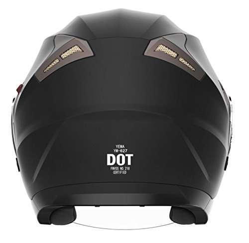 Motorcycle Open Face Helmet DOT Approved - YEMA YM-627 Motorbike Moped Jet Bobber Pilot Crash Chopper 3/4 Half Helmet with Sun Visor for Adult Men Women - Matte Black,Large