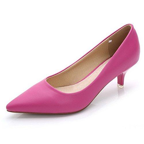 AalarDom Damen Spitz Zehe Ziehen auf PU Rein Low-Heels Pumps Schuhe