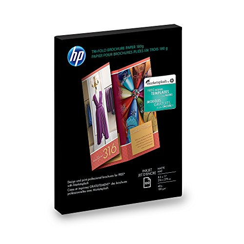 Hp Inkjet Matte - HP Tri-Fold Brochure Paper, Matte (100 Sheets, 8.5 x 11 Inches)