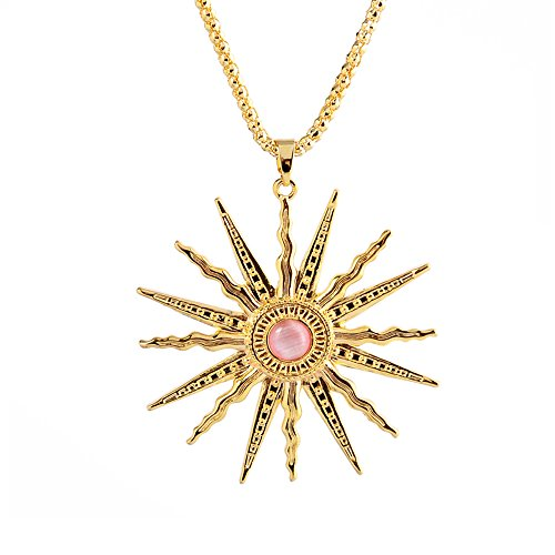 (St.Ushine Classic Sun God Crystal Gold Plated Long Sweater Chain Pendant Necklaces for Women Girl Gift (Sun God- Champagne Gold with Pink))