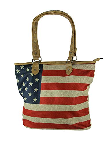 Montana West Vintage American Flag Canvas Tote Bag