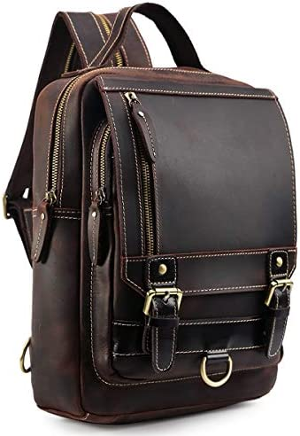 Tiding Men s Genuine Leather Backpack Vintage Small Daypack College Bag Fits 9.7 Inch Ipad Air – Dark Brown