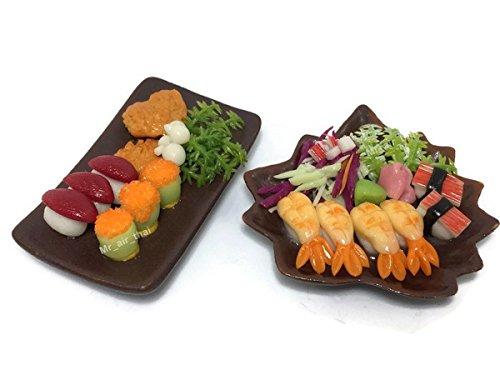 Set 2 Miniature Sushi Set Food Dollhouse Drink Japan Food Shshi Bento Steak Vegetable Fruit Decor Furniture ( Sushi,Salmon Steak) F15 ()