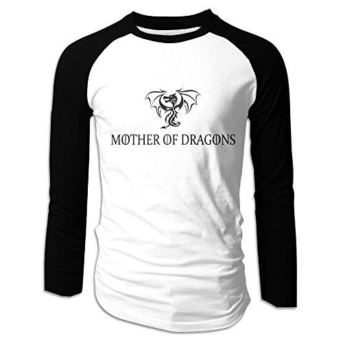 Creamfly Mens Mother Of Dragons Game Of Thrones Long Sleeve Raglan Baseball Tshirt XXL