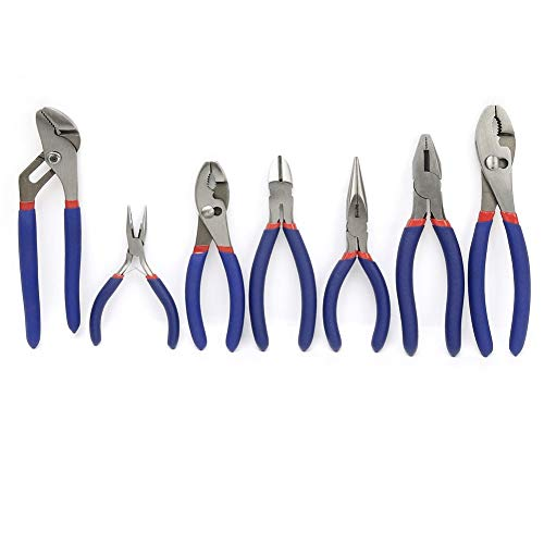 WORKPRO 7-piece Pliers Set (8-inch Groove Joint Pliers, 6-inch Long Nose, 6-inch Slip Joint, 4-1/2 Inch Long Nose, 6-inch Diagonal, 7-inch Linesman, 8-inch Slip Joint) for DIY & Home Use