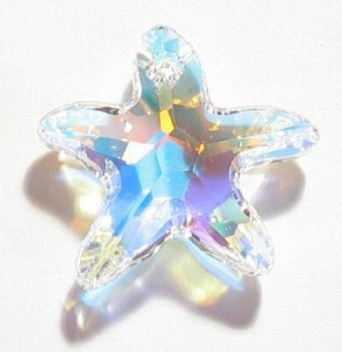 (1 pc Swarovski Crystal 6721 Starfish Charm Pendant Clear AB 28mm / Findings / Crystallized)