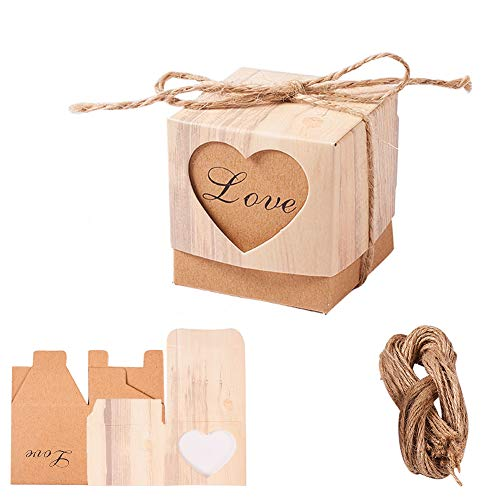 (PH PandaHall 40sets Love Heart Kraft Gift Boxes Wedding Favor Boxes Candy Boxes with 20ft Burlap Twine for Baby Shower Party Decoration Supplies)