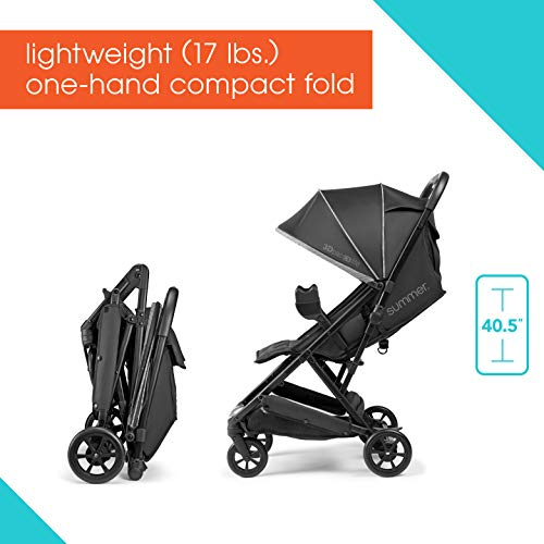41SVtacEXkL - Summer 3Dpac CS Lite Compact Fold Stroller, Black – Compact Car Seat Adaptable Baby Stroller – Lightweight Stroller With Convenient One-Hand Fold, Reclining Seat, Extra-Large Canopy, And More