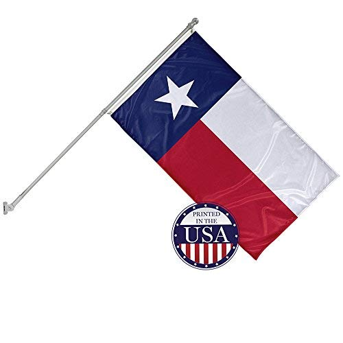 Vispronet - Texas State Flag and 6ft Flagpole with Wall Mounting Bracket - 3ft x 5ft Knitted Polyester Flag, State Flag Collection, Flag Printed in The USA ()