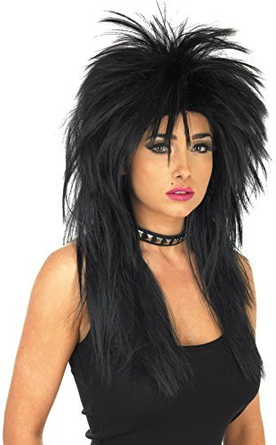 Unisex Glam Rock Wig Accessory For 70s 80s Fancy Dress Mens or Ladies Black by Partypackage Ltd (70s Glam Rock Fancy Dress)