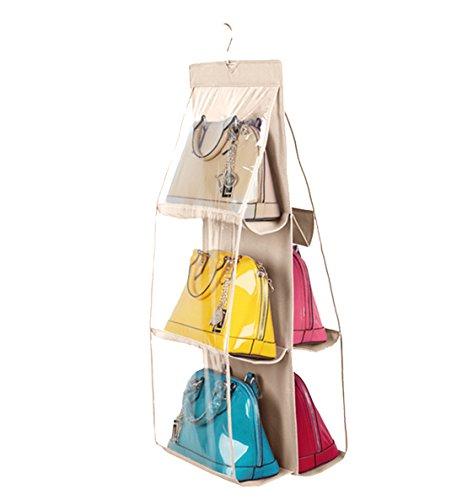 Vercord 6-Pocket Hanging Purse Handbag Tote Storage Holder Organizer Dust-proof Closet Wardrobe Hatstand Space Saver, Beige ()