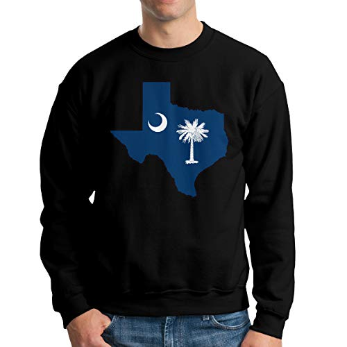 South Carolina Flag Texas Map Crewneck Sweatshirt, Men's Fleece Pullover