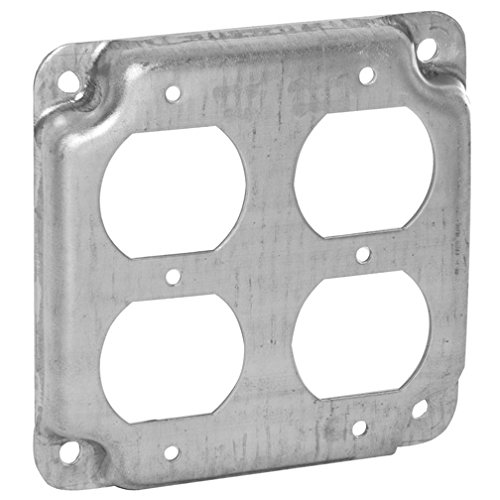 Hubbell-Raco 907C 2 Duplex Receptacles 4-Inch Square Exposed Work Cover