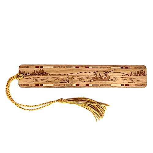 Drift Boat Fishing Engraved Wooden Bookmark with Tassel - Search B07QY4S2JL to See Personalized Version