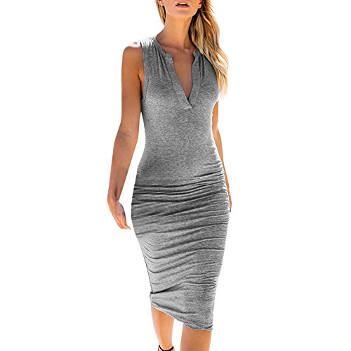 - Womens V-Neck Sleeveless Bodycon Mini Dress Fashion Sexy Dress